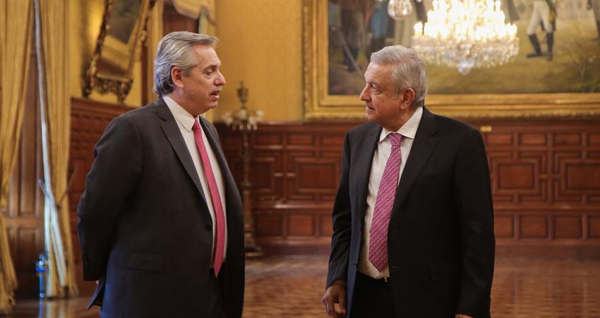 El presidente de Argentina, Alberto Fernández con su homólogo de México, Andrés Manuel López Obrador. Foto: Cortesía.