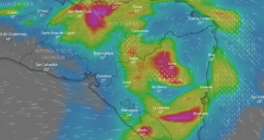 Eta ahora es tormenta tropical. Foto: Windy/Radio ABC Stereo