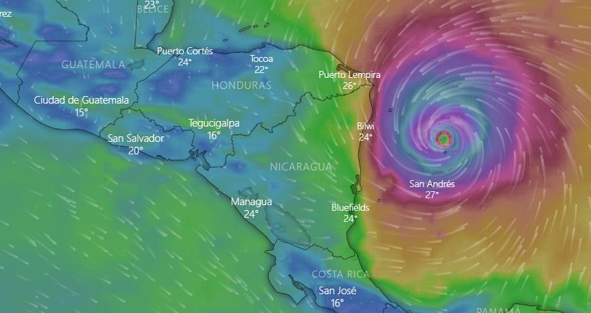 Iota rápidamente se convirtió en Huracán. Foto: Captura de pantalla/Windy